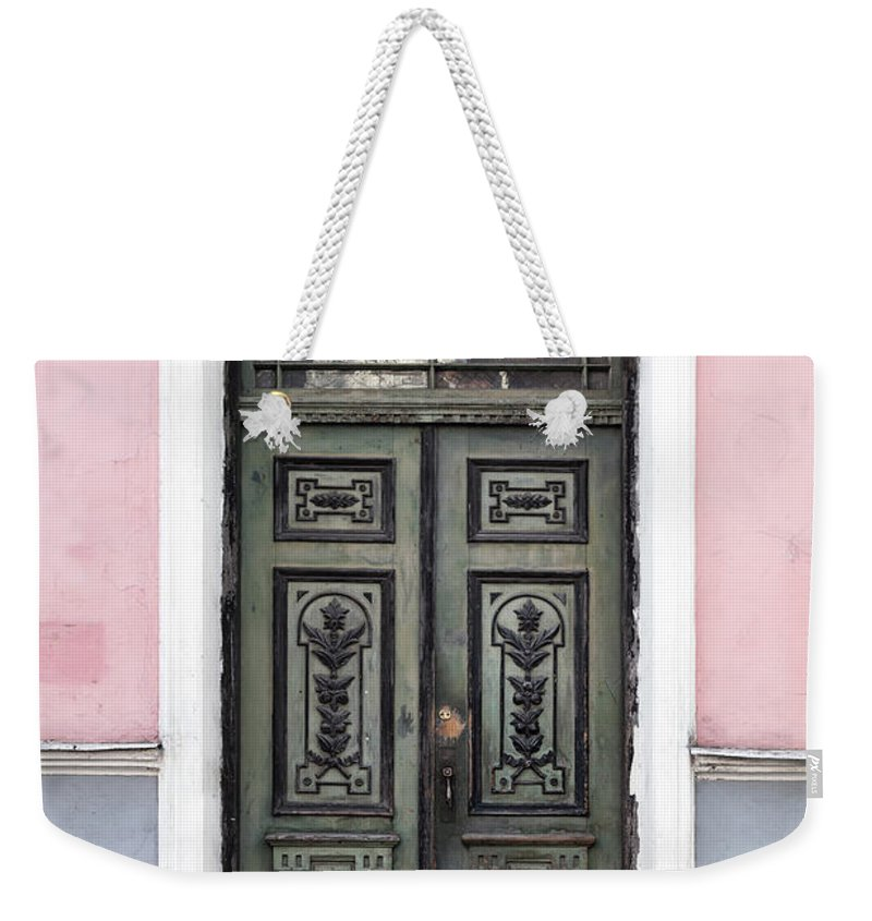 Rectangle Weekender Tote Bag featuring the photograph Green Wooden Door In Old Building by Eugenesergeev