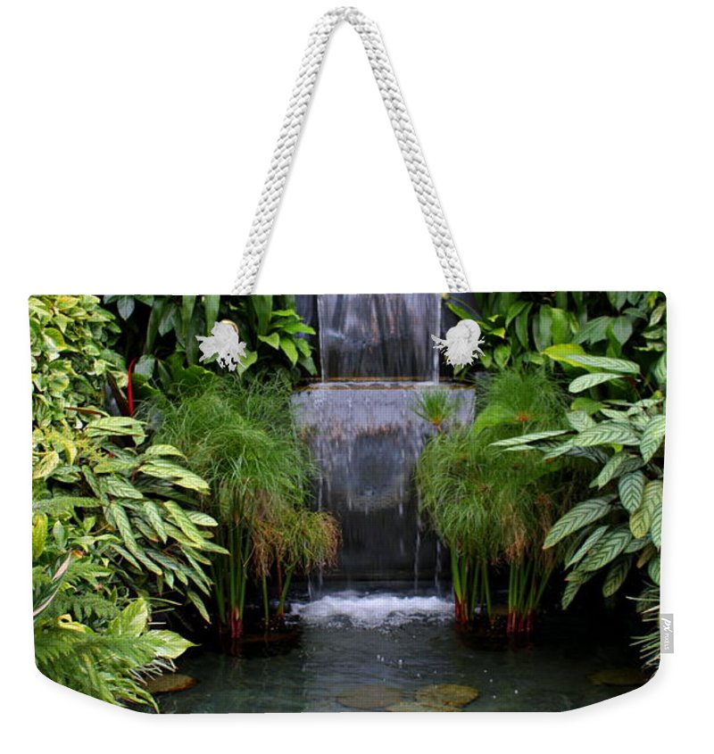 Waterfall Weekender Tote Bag featuring the photograph Greenhouse Garden Waterfall by Carol Groenen