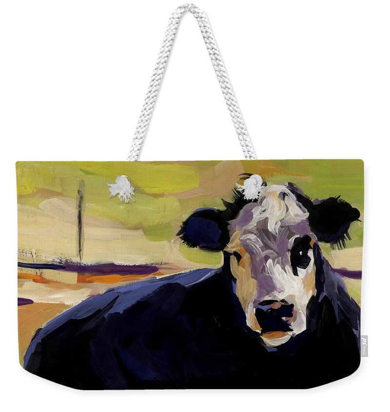 Cow Weekender Tote Bag featuring the painting Greens by Molly Poole