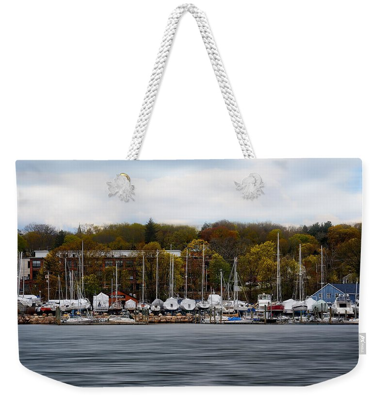 Rhode Island Weekender Tote Bag featuring the photograph Greenwich Harbor by Lourry Legarde