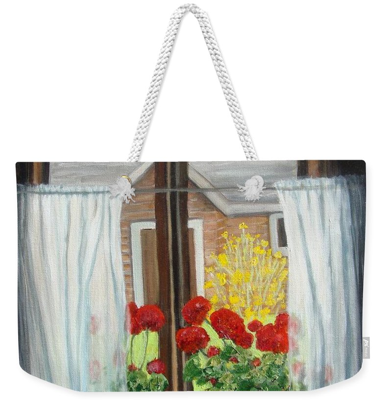 Windows Weekender Tote Bag featuring the painting Greet The Day by Laurie Morgan