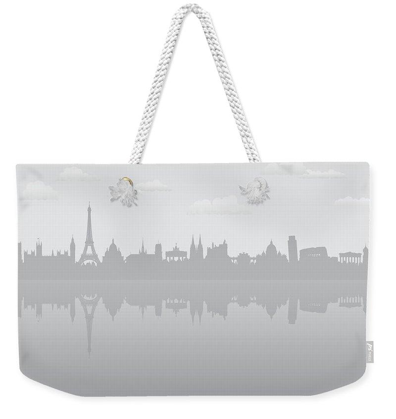 Clock Tower Weekender Tote Bag featuring the digital art Grey Europe by Leontura