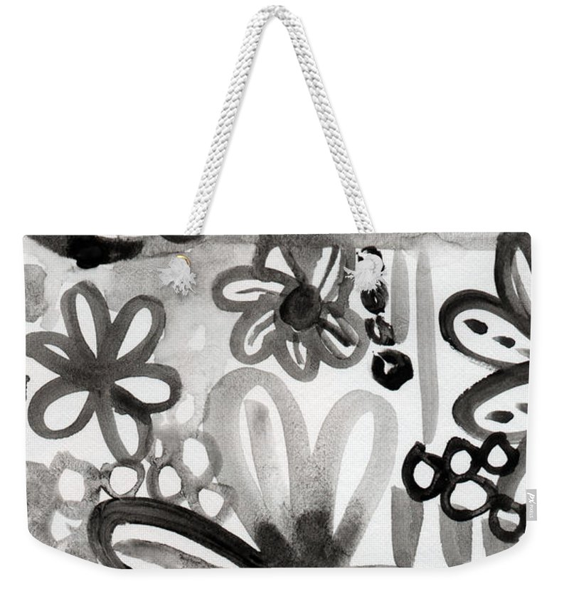 Floral Weekender Tote Bag featuring the painting Grey Garden- Abstract Floral Painting by Linda Woods