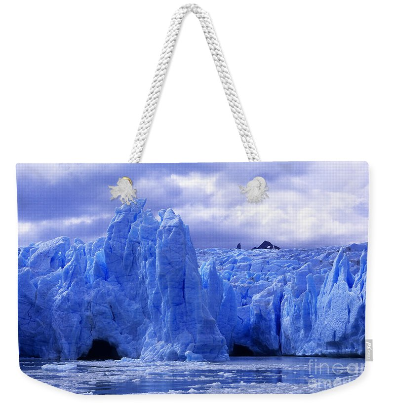 Glacier Weekender Tote Bag featuring the photograph Grey Glacier Patagonia Chile by James Brunker