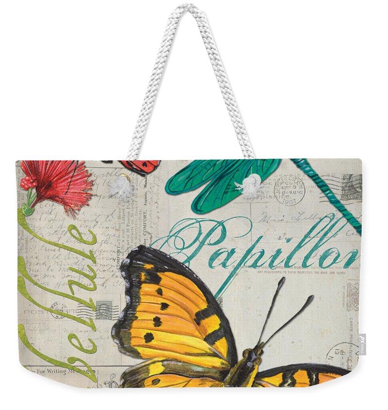 Butterfly Weekender Tote Bag featuring the painting Grey Postcard Butterflies 3 by Debbie DeWitt