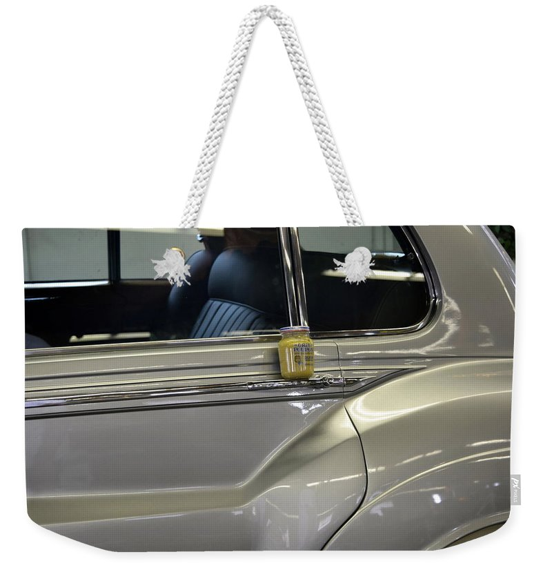 Rolls Royce Weekender Tote Bag featuring the photograph Grey Poupon And Rolls Royce by Kathy Barney