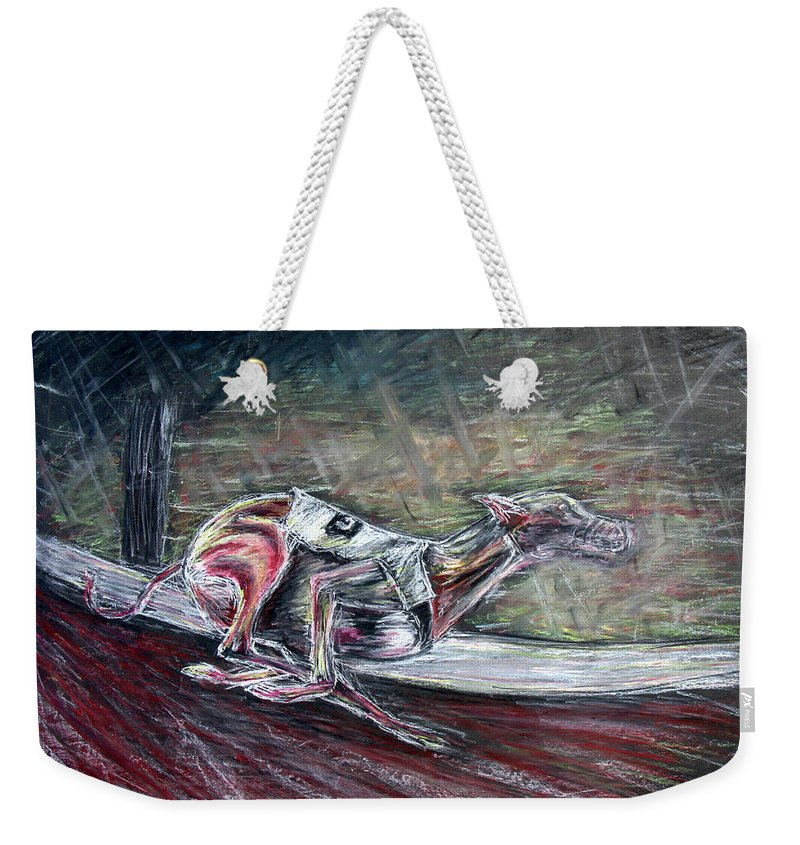 Dog Weekender Tote Bag featuring the drawing Greyhound Number Three by Tom Conway