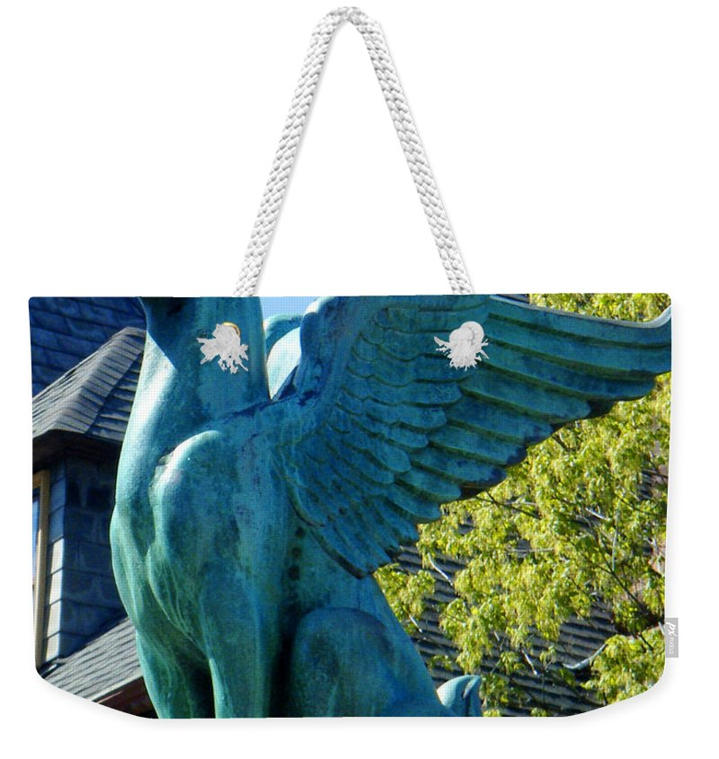 Gargoyle Weekender Tote Bag featuring the photograph Griffin Natural Color by Tamara Kulish