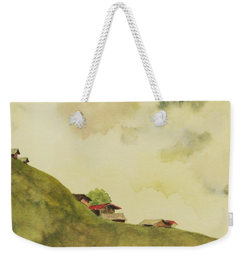 Swiss Weekender Tote Bag featuring the painting Grindelwald Dobie Inspired by Mary Ellen Mueller Legault