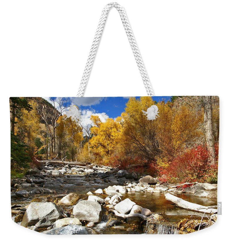 Grizzly Creek Canyon Weekender Tote Bag featuring the photograph Grizzly Creek Canyon by Jeremy Rhoades