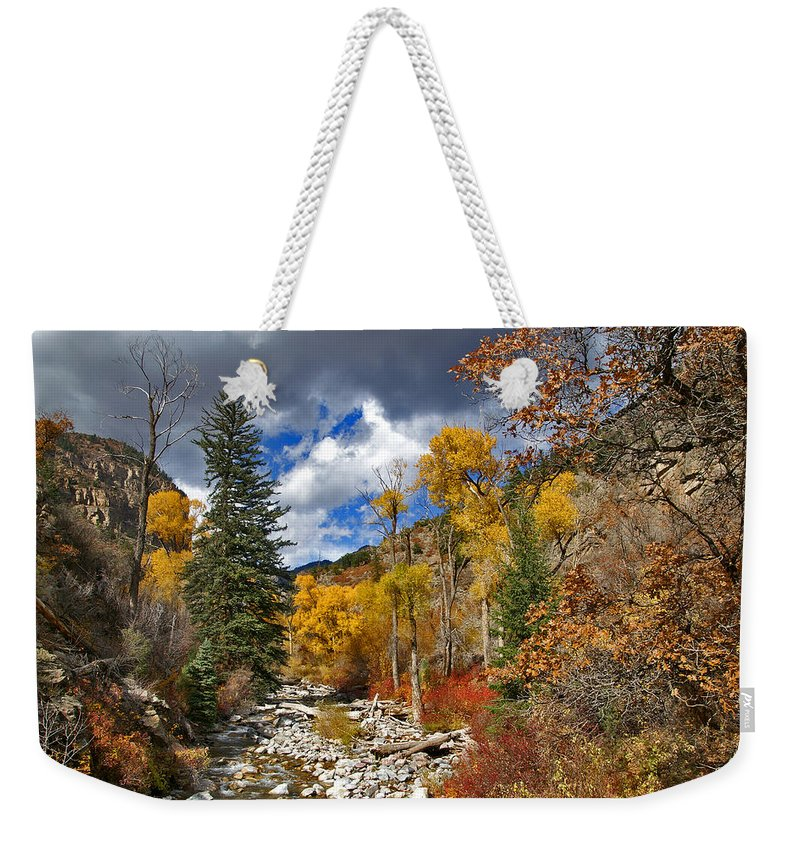 Glenwood Canyon Weekender Tote Bag featuring the photograph Grizzly Creek Cottonwoods by Jeremy Rhoades
