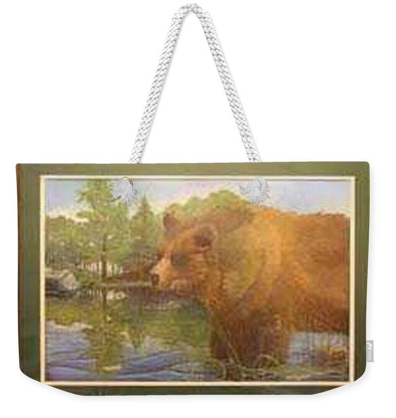 Rick Huotari Weekender Tote Bag featuring the painting Grizzly by Rick Huotari