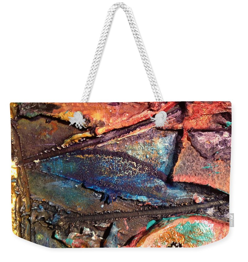 Mixed Media Weekender Tote Bag featuring the mixed media Grooved Lines by Angela L Walker