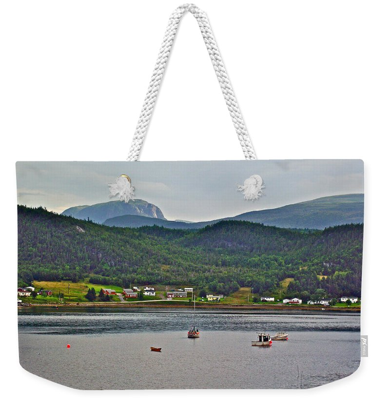 Gros Morne Mountain Over Bonne Bay At Norris Point In Gros Morne Np Weekender Tote Bag featuring the photograph Gros Morne Mountain Over Bonne Bay At Norris Point In Gros Morne Np-nl by Ruth Hager
