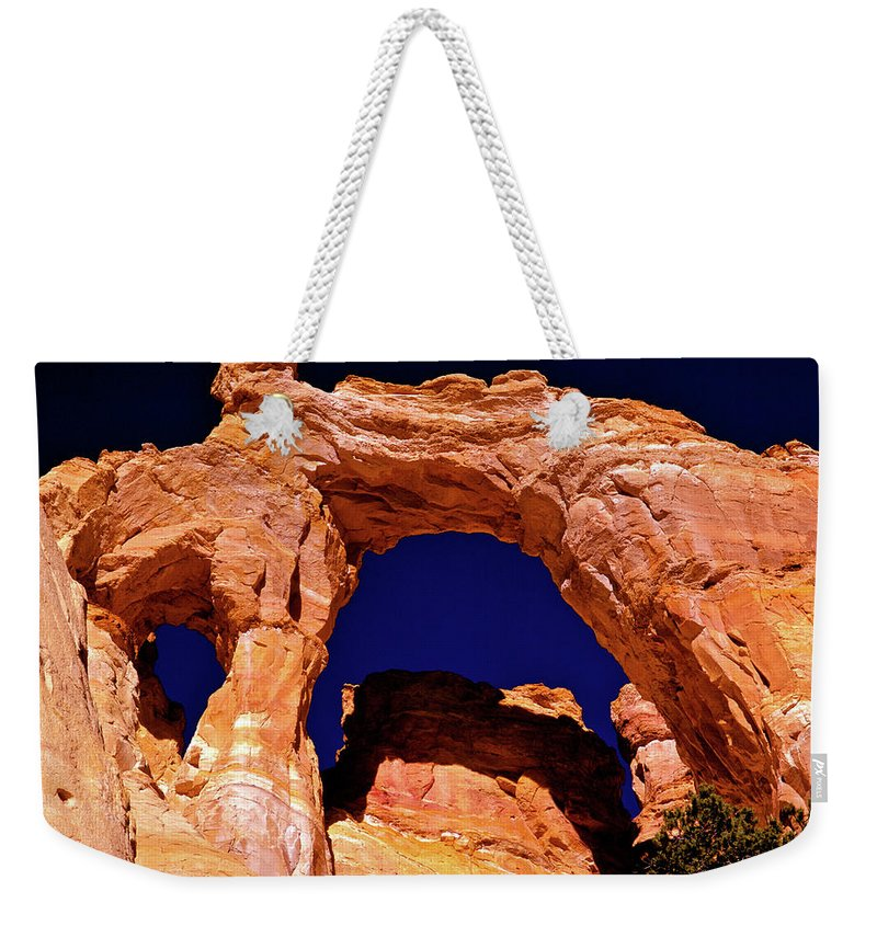 Arch Weekender Tote Bag featuring the photograph Grosvenor Arch Sunset Kodachrome Basin by Ed Riche
