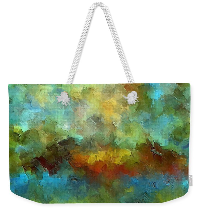 Abstract Art Weekender Tote Bag featuring the painting Grotto by Ely Arsha