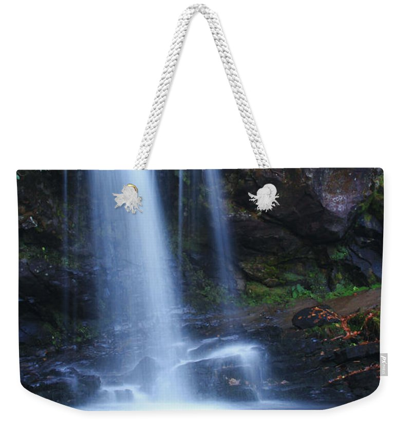Waterfall Weekender Tote Bag featuring the photograph Grotto Falls Great Smoky Mountains by Shari Jardina