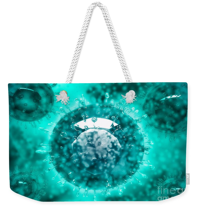 Protoplasm Weekender Tote Bag featuring the digital art Group Of H5n1 Virus With Glassy View by Stocktrek Images