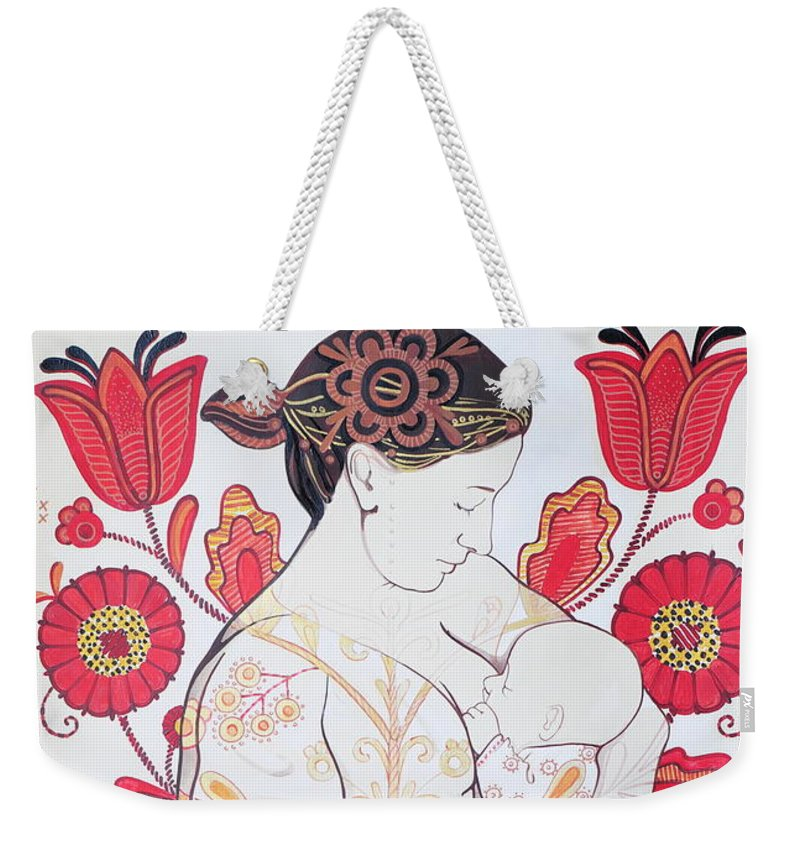 Ornament Weekender Tote Bag featuring the painting Grow You Son Embark On A Journey by Tetiana Cherevan