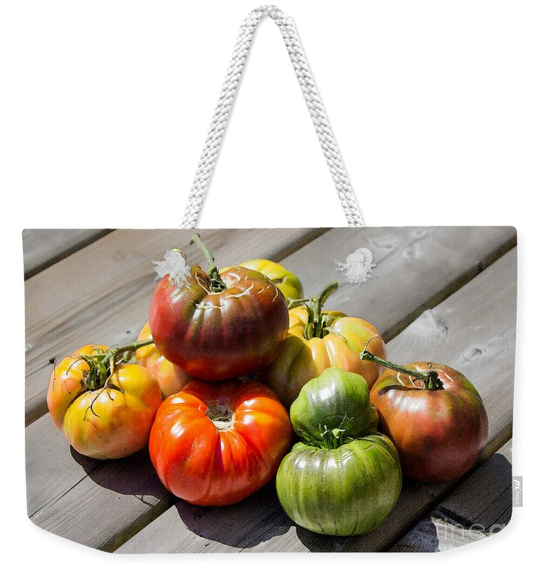 Tomato Weekender Tote Bag featuring the photograph Grown From Seeds by Barbara McMahon