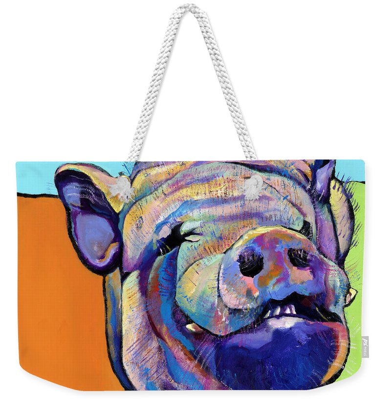 Pat Saunders-white Canvas Prints Weekender Tote Bag featuring the painting Grunt  by Pat Saunders-White