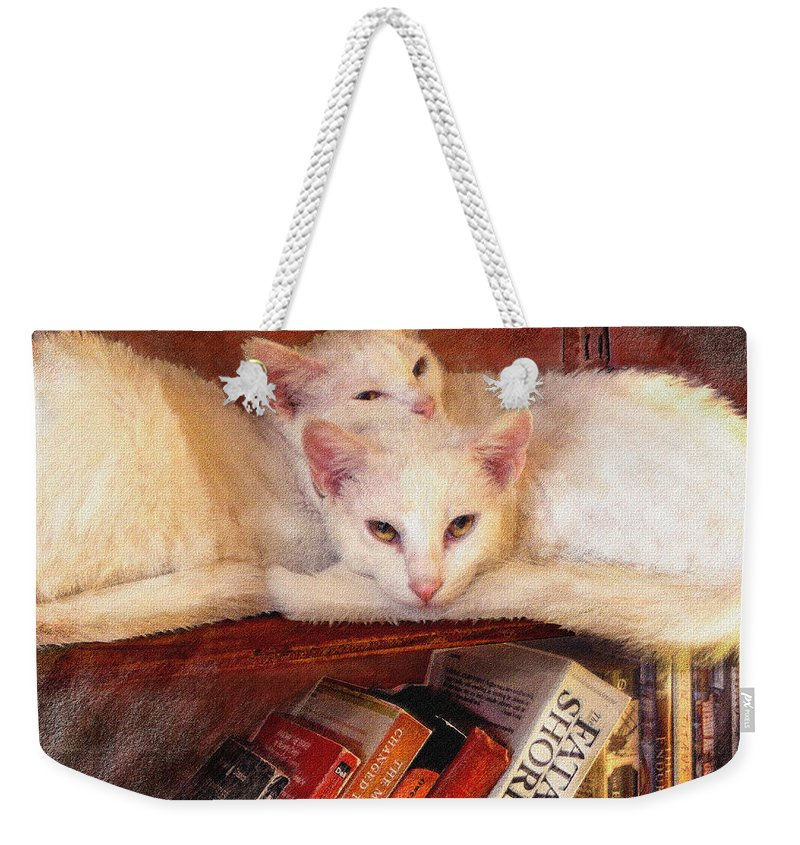 Cat Weekender Tote Bag featuring the digital art Guardians Of The Library by Jane Schnetlage
