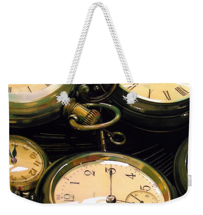 Clocks Weekender Tote Bag featuring the painting Guardians Of Time by Denny Bond