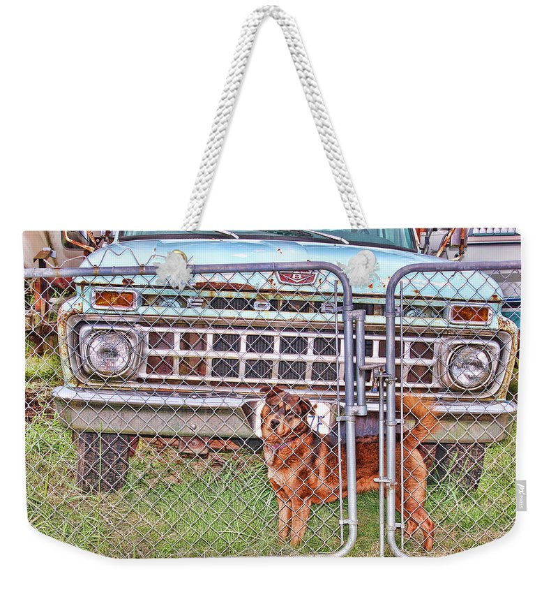 Dog Weekender Tote Bag featuring the photograph Guarding The Ford by Cathy Anderson