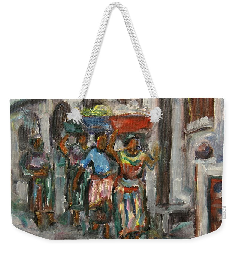 Mayan Weekender Tote Bag featuring the painting Guatemala Impression V - Left Hand 1 by Xueling Zou