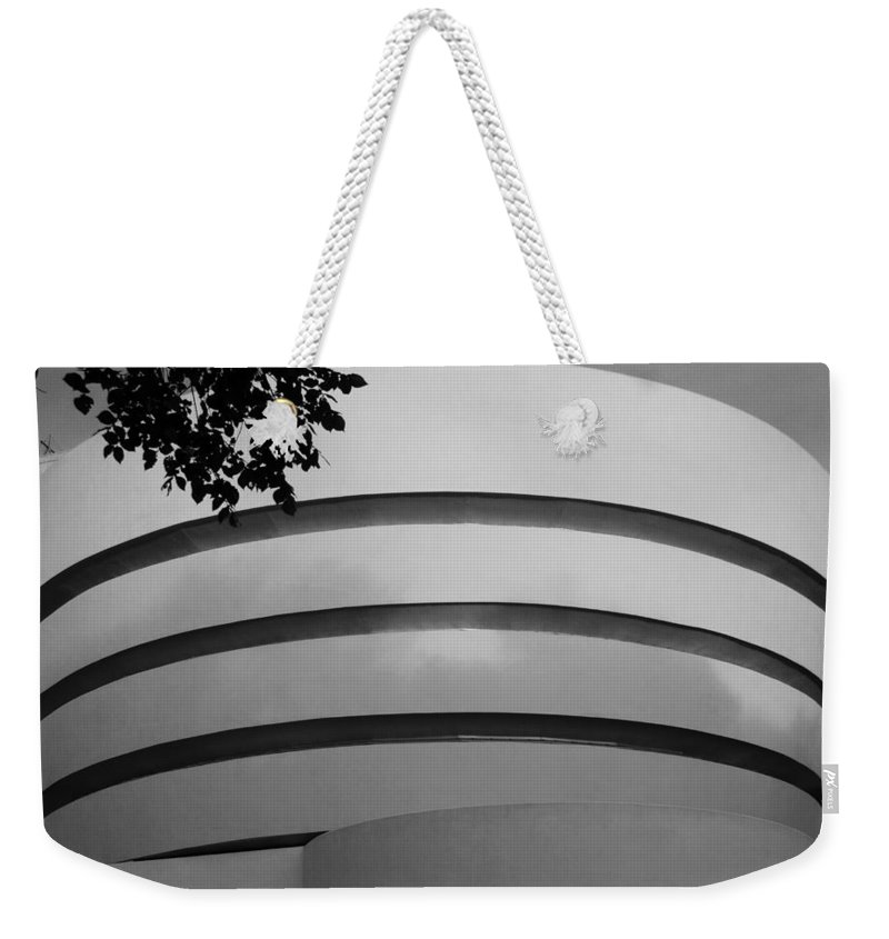 Scenic Weekender Tote Bag featuring the photograph Guggenheim In The Round In Black And White by Rob Hans