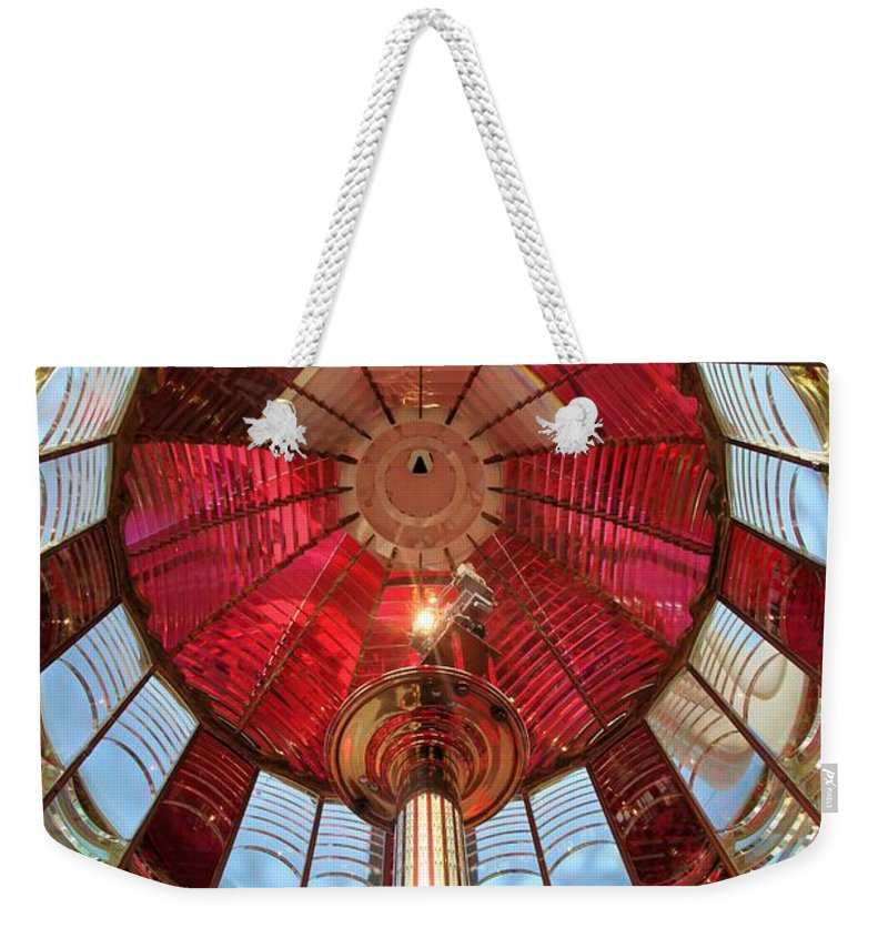 First Order Fresnel Lens Weekender Tote Bag featuring the photograph Guiding Red by Adam Jewell