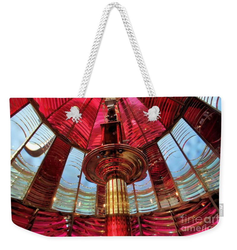 First Order Fresnel Lens Weekender Tote Bag featuring the photograph Guiding Red Light by Adam Jewell