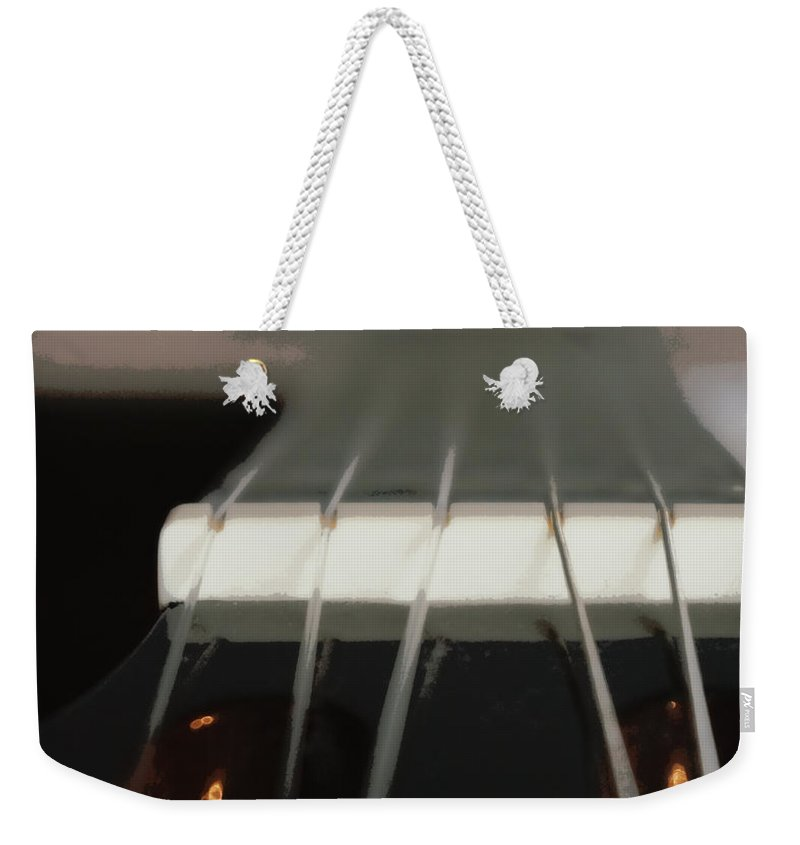 Digital Photograph Weekender Tote Bag featuring the digital art Guitar Neck Fading Out by Laurie Pike