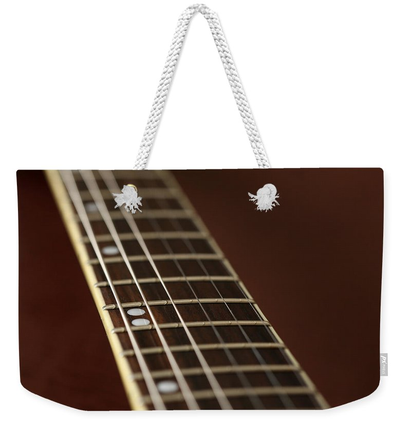 Music Weekender Tote Bag featuring the photograph Guitar Neck by Karol Livote