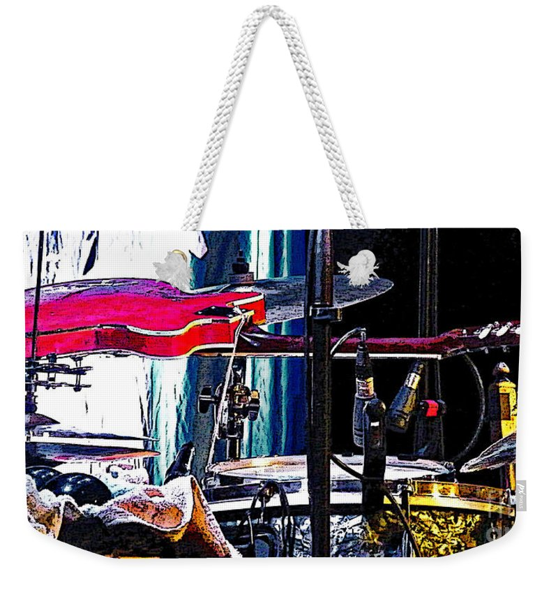 Guitar Weekender Tote Bag featuring the photograph 10261 Seasick Steve's Guitar On Drum by Colin Hunt