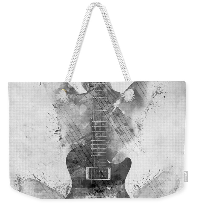 Guitar Weekender Tote Bag featuring the digital art Guitar Siren In Black And White by Nikki Smith