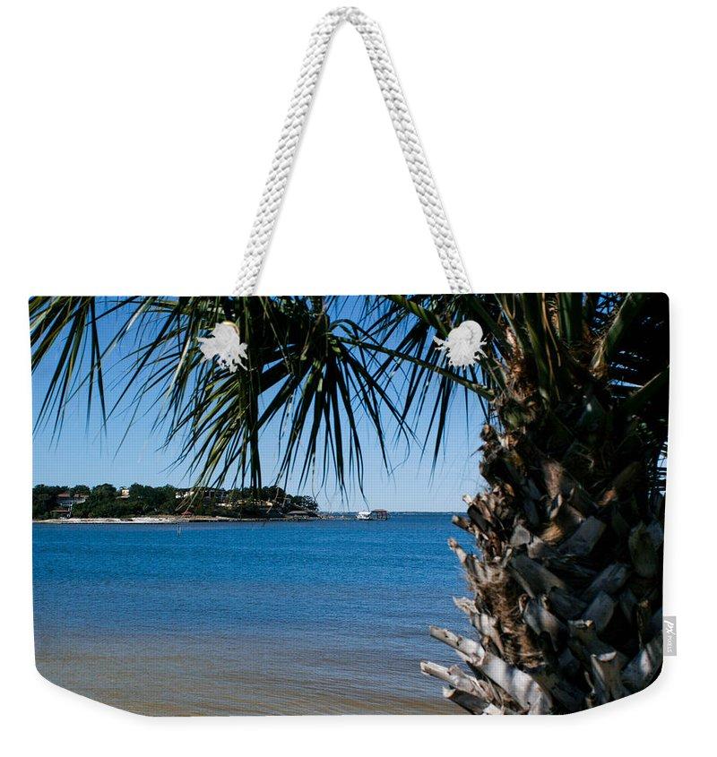 Gulf Breeze Weekender Tote Bag featuring the photograph Gulf Breeze View by Mechala Matthews