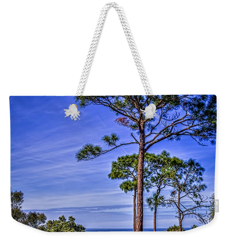 Pine Trees Weekender Tote Bag featuring the photograph Gulf Pines by Marvin Spates