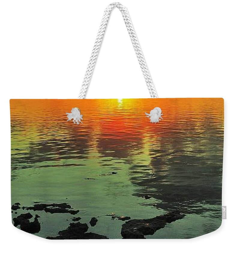 Florida Weekender Tote Bag featuring the photograph Gulf Sunset by Benjamin Yeager
