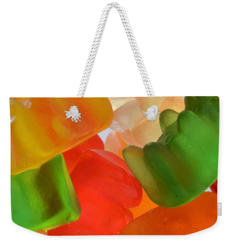 Candy Weekender Tote Bag featuring the photograph Gummy Bears by Photo Researchers, Inc.