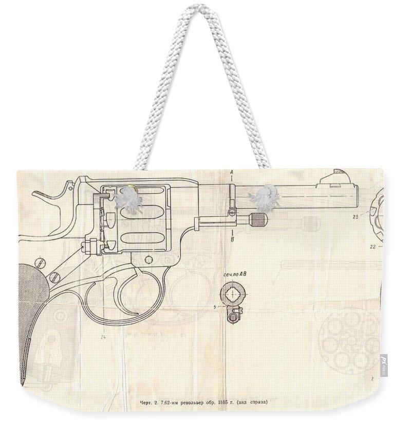 Gun Weekender Tote Bag featuring the drawing Gun by Oleg Konin