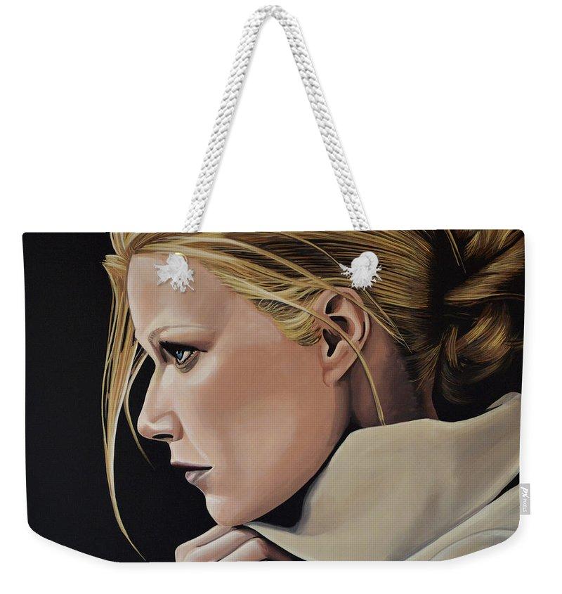 Gwyneth Paltrow Weekender Tote Bag featuring the painting Gwyneth Paltrow Painting by Paul Meijering