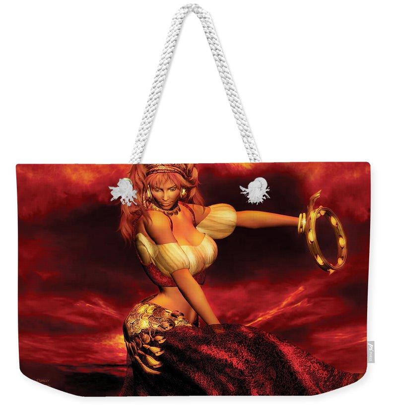 Gypsy Weekender Tote Bag featuring the mixed media Gypsy Dancer by Carol Cavalaris