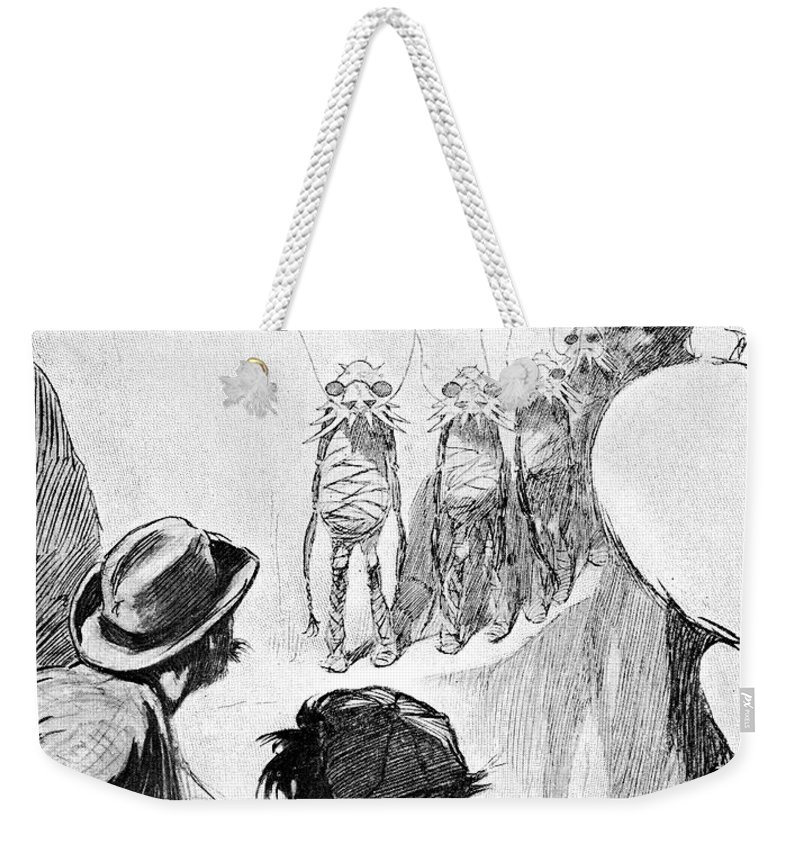 1901 Weekender Tote Bag featuring the drawing H by Granger