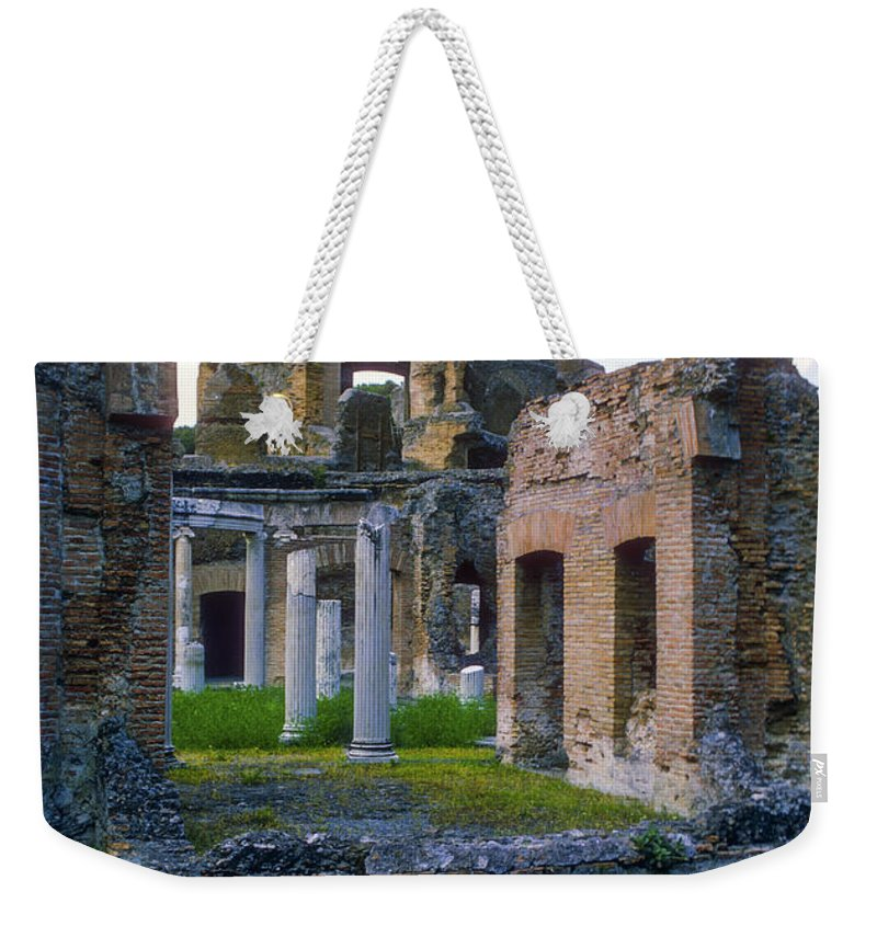 Hadrian Villa Ruin Ruins Pond Ponds Reflection Reflections Water Structure Structures Building Building Column Columns Architecture Hadrian's Villa Roman Architecture Cityscape Cityscapes Tivoli Italy City Cities Cityscape Cityscapes Weekender Tote Bag featuring the photograph Hadrian's Villa by Bob Phillips