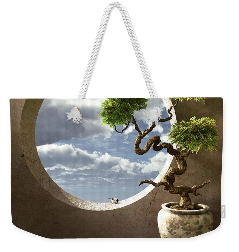 Window Weekender Tote Bag featuring the digital art Haiku by Cynthia Decker