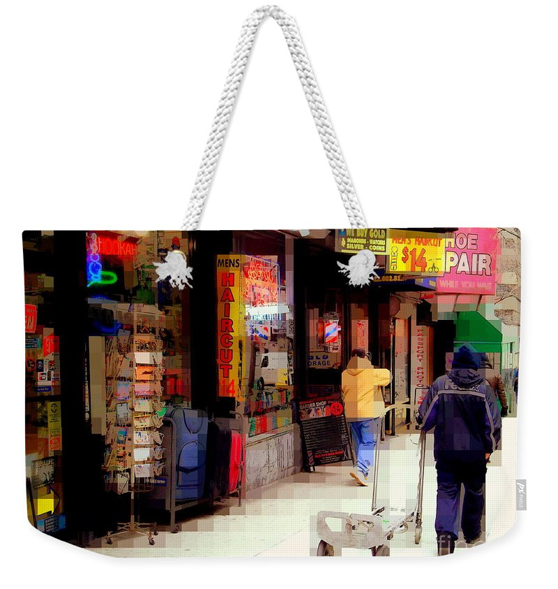 Street Sign Weekender Tote Bag featuring the photograph Haircut by Miriam Danar