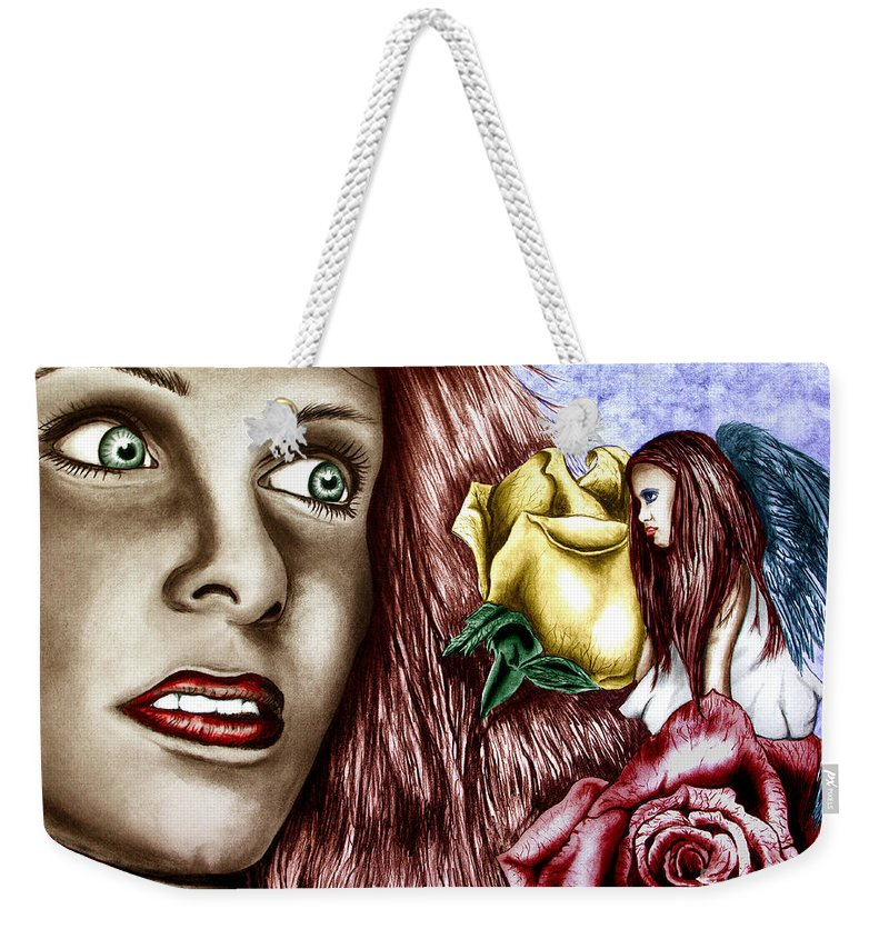 Haleys Apparition Weekender Tote Bag featuring the drawing Haleys Apparition Colored by Peter Piatt