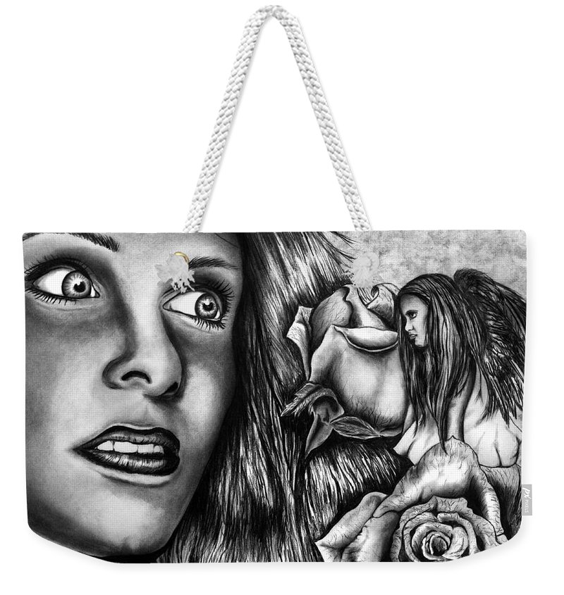 Haleys Apparition Weekender Tote Bag featuring the drawing Haleys Apparition by Peter Piatt