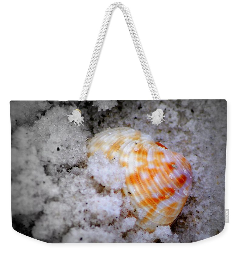 Digital Photograph Weekender Tote Bag featuring the photograph Half Buried Shell by Laurie Pike